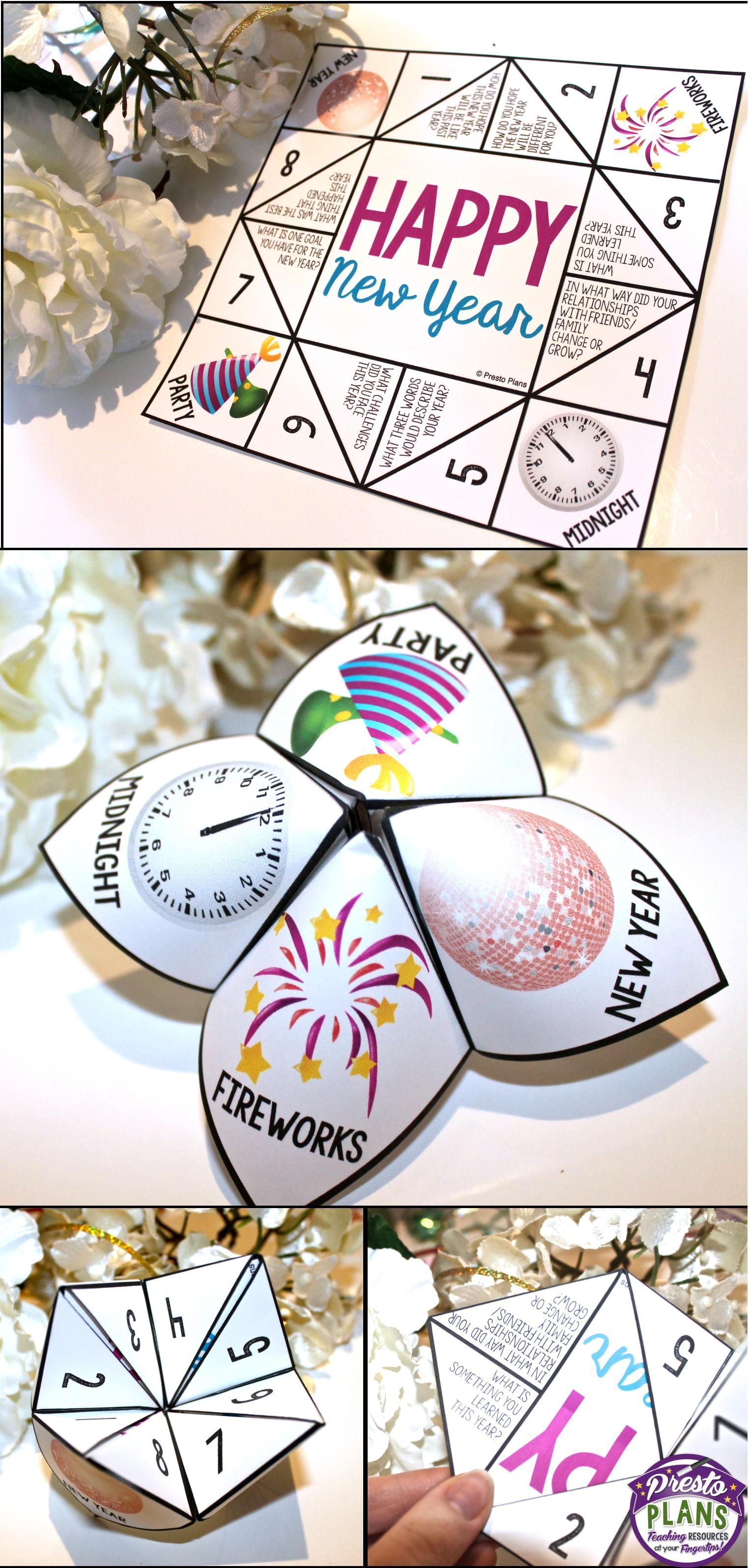 This fun New Year's activity will not only keep your students engaged, but will also help them reflect on the past year while also setting goals for the new year! This fortune teller/cootie-catcher can easily be folded by your students, and they can use it to ask each other questions that require reflection.