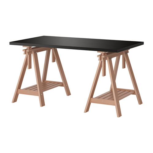 Linnmon Finnvard Table Brun Noir Hetre Ikea Treteau