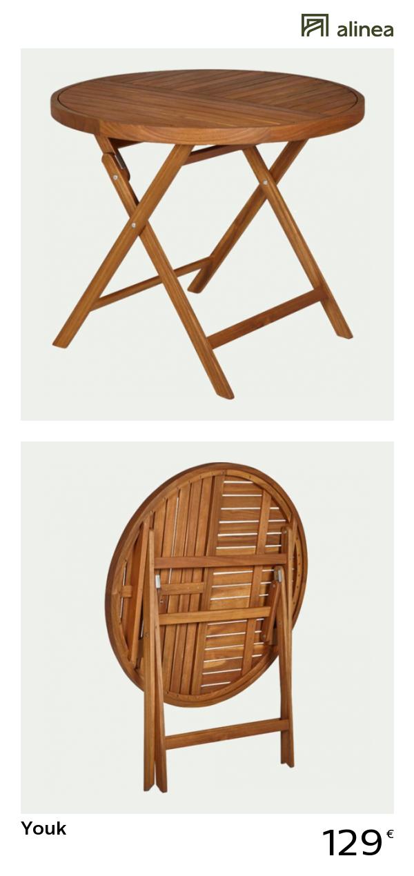 alinea : youk table de jardin pliante en acacia (4 places ...