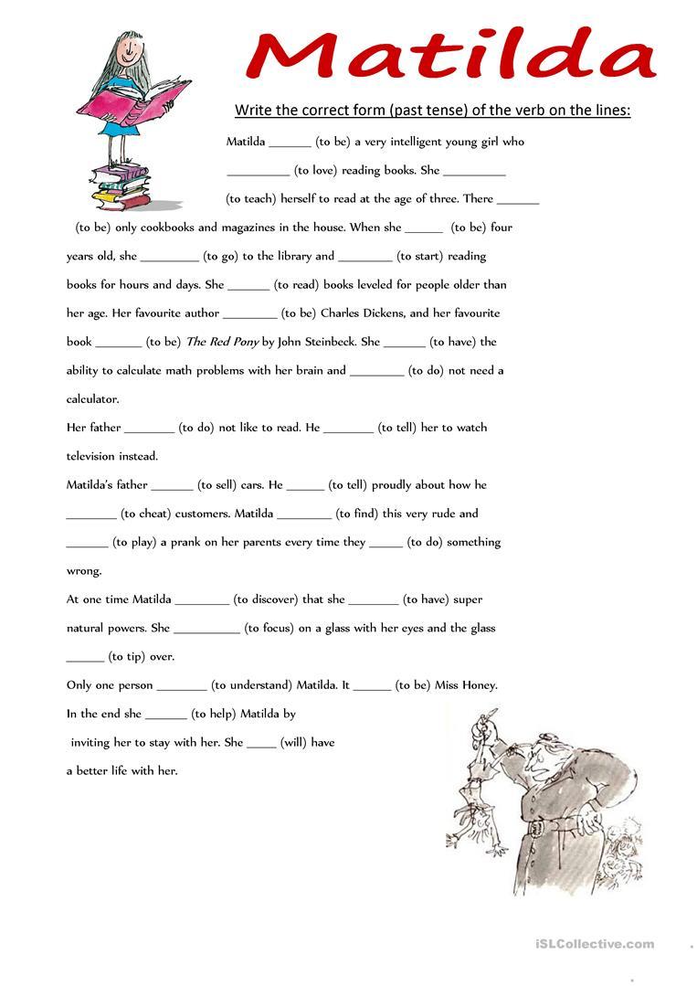 Matilda Past Tense English Esl Worksheets Roald Dahl Activities Past Tense Worksheet Matilda [ 1079 x 763 Pixel ]