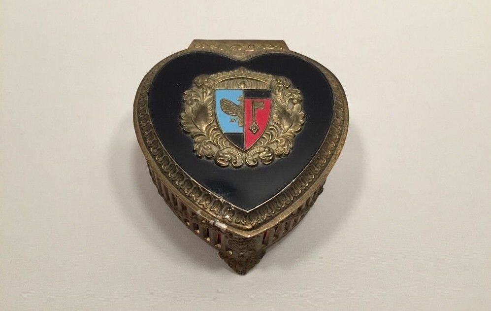 Vintage coat of arms silver trinket box