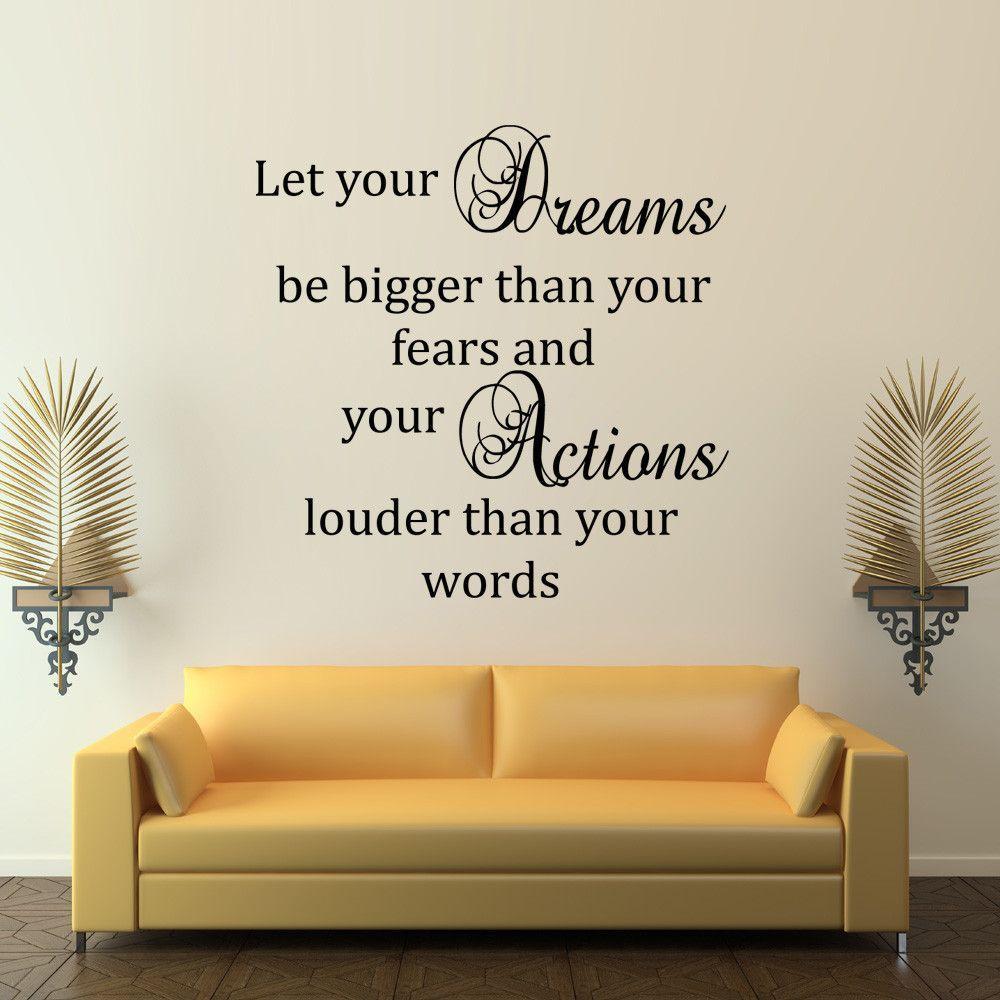 Let your dreams be bigger than your fears inspirational wall decal let your dreams be bigger than your fears inspirational wall decal quote amipublicfo Image collections