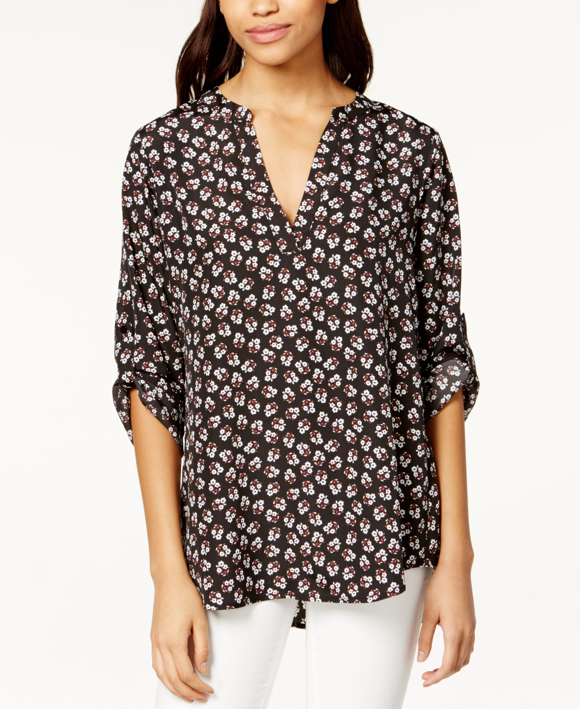 1dbb3876 Maison Jules Roll-Tab-Sleeve Floral-Print Blouse, Only at Macy's ...