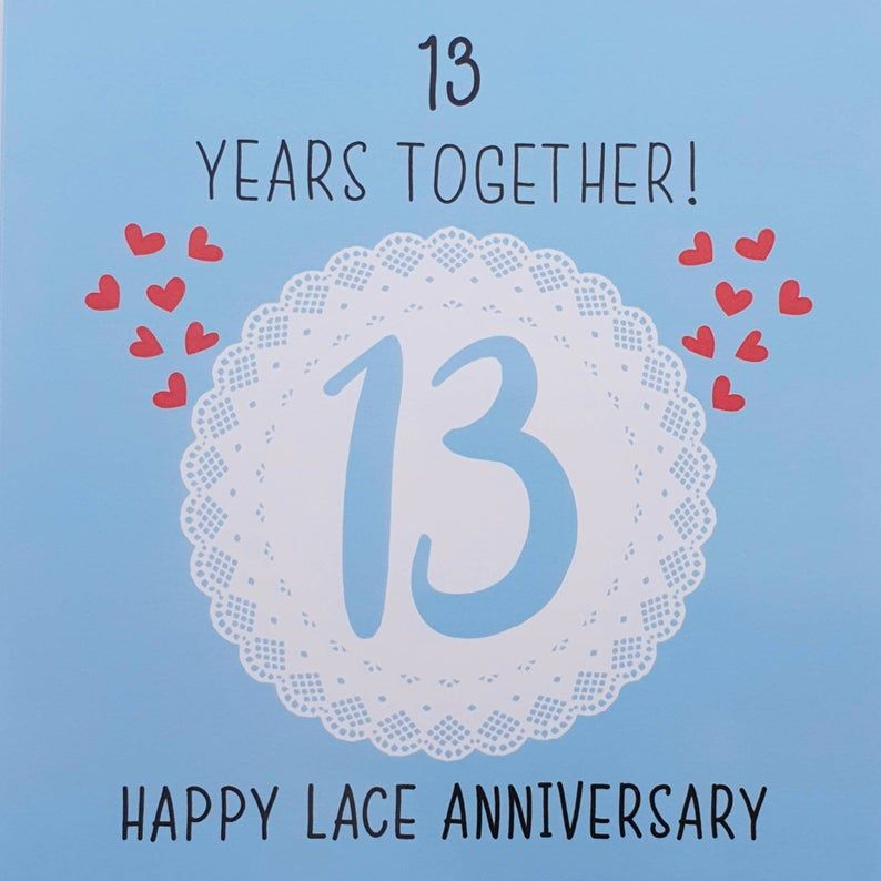 13th Wedding Anniversary Card - Lace Anniversary - Iconic Collection | Wedding anniversary cards, 13th wedding anniversary, Happy anniversary cards