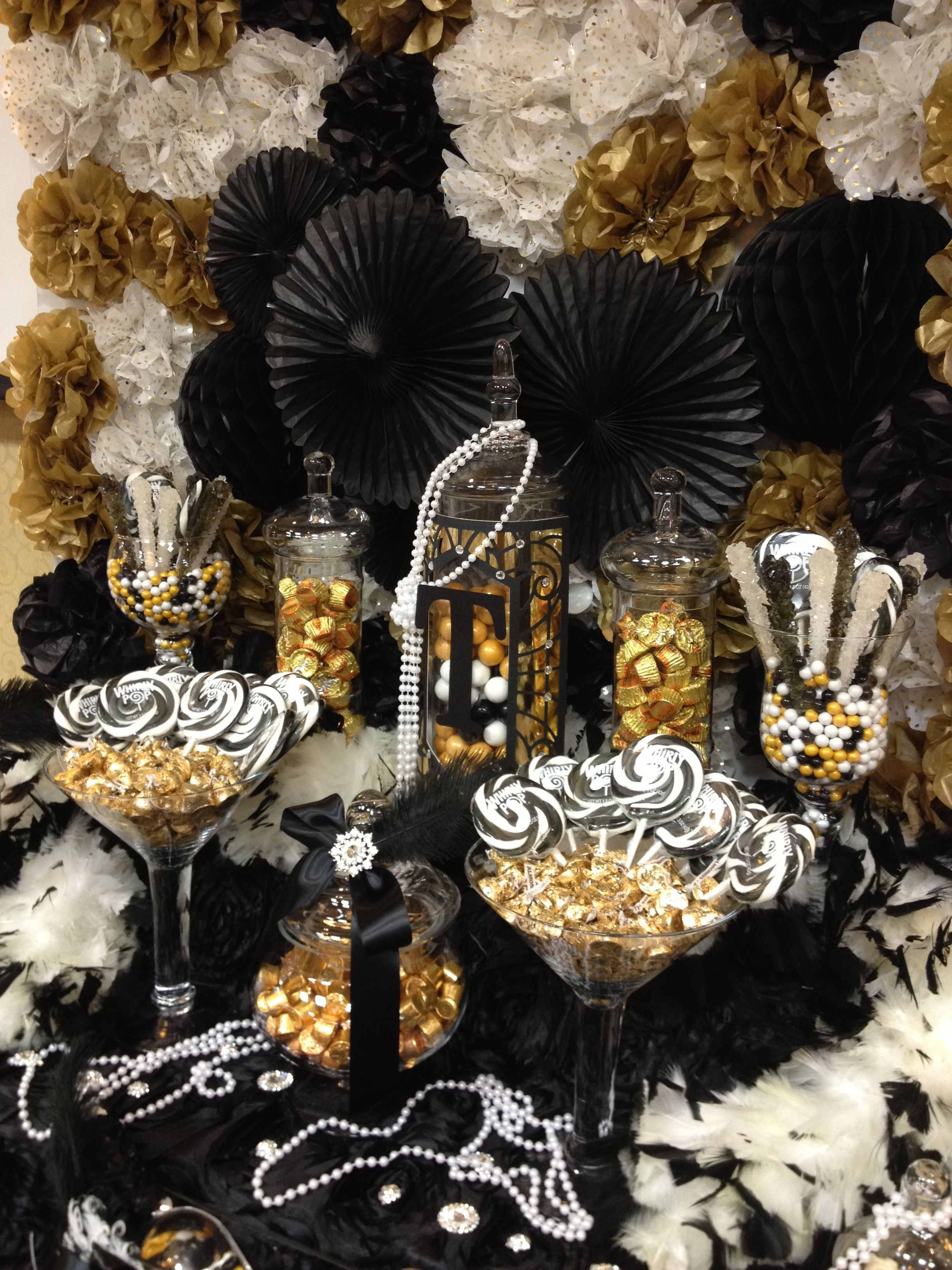 Great Gatsby themed candy buffet     gold, black and ivory | Gold
