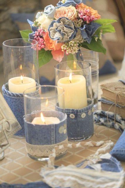 23 exclusive wedding denim inspirations denim ideas for Denim centerpieces