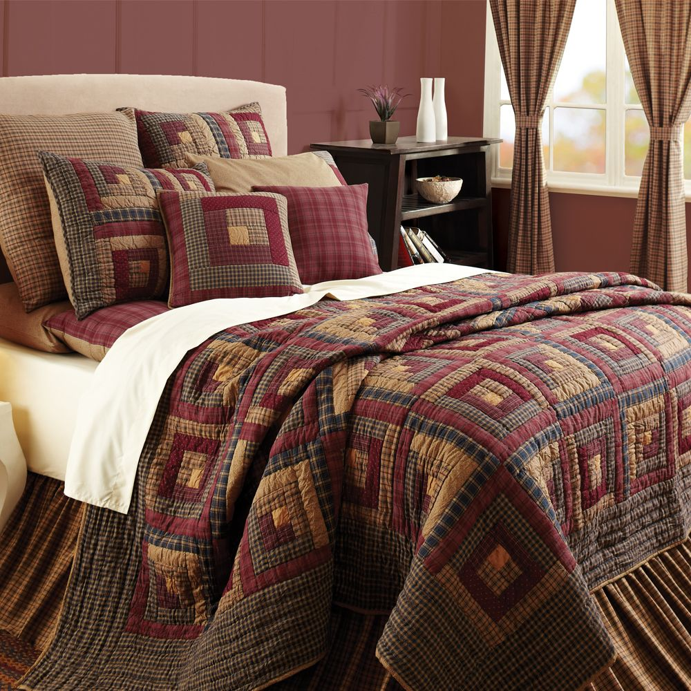 Burgundy Lodge Log Cabin Block Oversized Twin Queen Cal King Quilt Bedding  Set