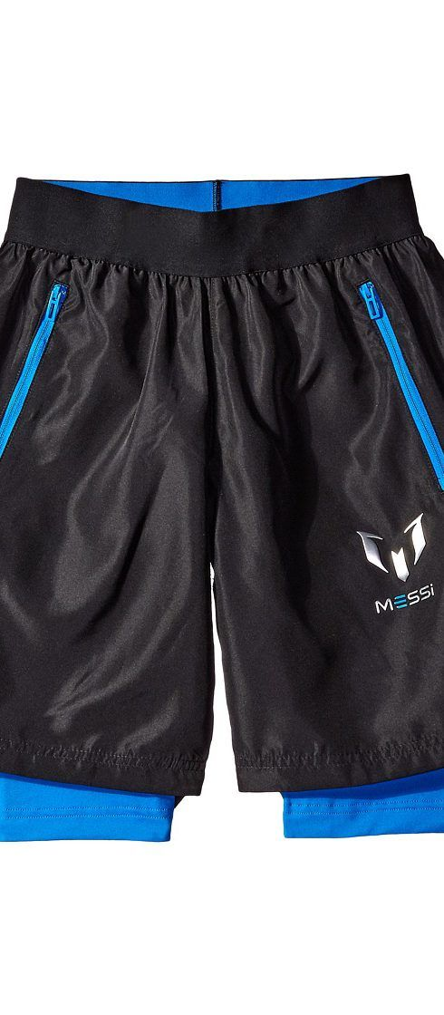 adidas Kids Messi Woven Shorts (Little Kids/Big Kids) (Black/Shock Blue)  Kid's Shorts