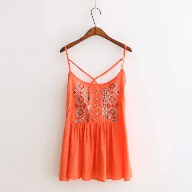 Summer Sexy Women Candy Colors Tops Vintage Embroidery Spaghetti Strap T-shirt Backless Cross Boho Beach Top Ruffle Hem Blusas