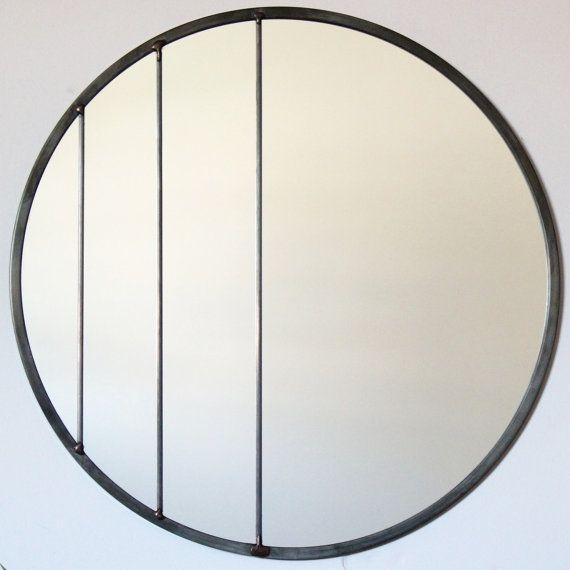 """Handmade Leaded Mirror 18"""" Diameter $160 / Fluxglass Etsy Listing"""