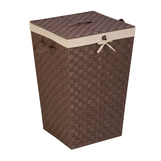 Honey Can Do Java Brown Decorative Woven Hamper With Lid
