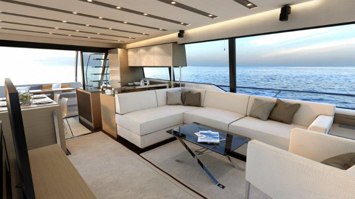 Luxury superyacht keyla interior by hot lab luxury yacht charter - Interiors Of Luxury Yachts Ferretti 720 Super Yacht S Interior Showing The Yacht S Salon Yachts Boat Houses House Boats Pinterest Luxury Yachts