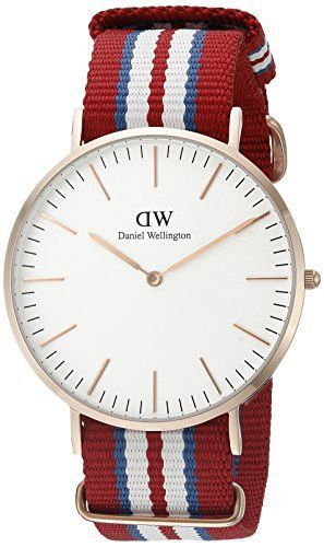 £72.82 Hot Daniel Wellington Exeter Rose Mens Quartz Watch with White Dial Analogue Display and Multicolour Nylon Strap 0112DW