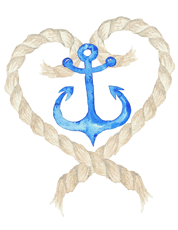 Printable Wall Art Nautical Anchor Rope