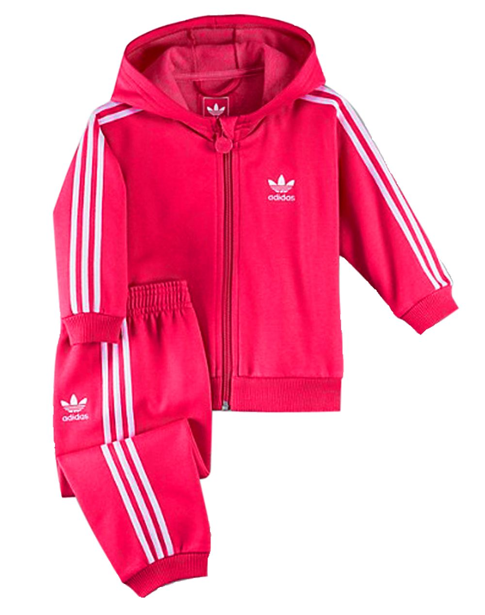 fb879bda2d92 Adidas Originals 3 Stripe Fleece Hooded Pink White Infants Tracksuit ...