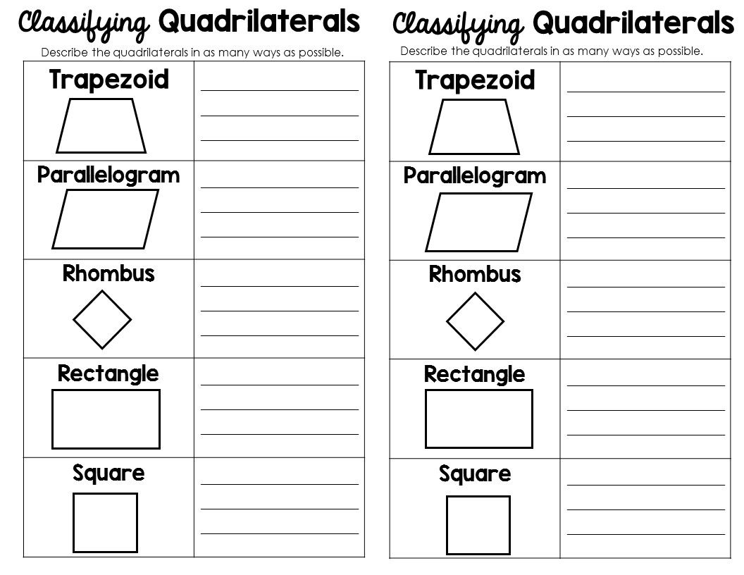 worksheet Identifying Quadrilaterals classifying 2d shapes polygonstriangles quadrilaterals oh my my