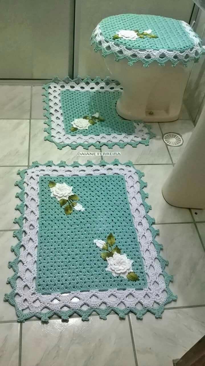 Jogo De Banheiro Alfombras De Ba O Pinterest Juegos De Ba O  -> Tapetes Para Sala Tejidos A Crochet