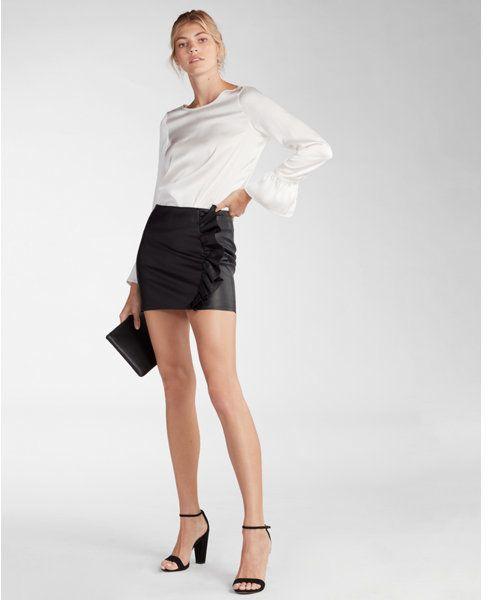 d6dbc10ee Express Minus the) leather ruffle mini skirt   Products   Mini ...