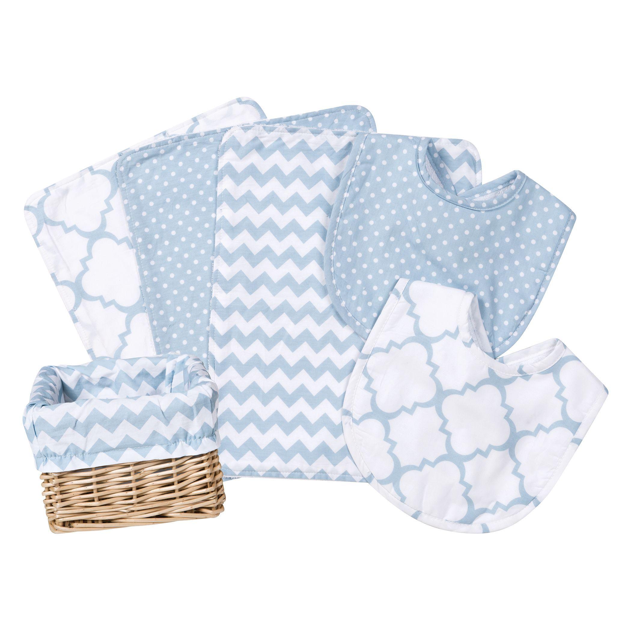 Baby Gift Set Feeding Basket Bib Burp Cloth Blanket 7 Piece Boy Girl Nursery New