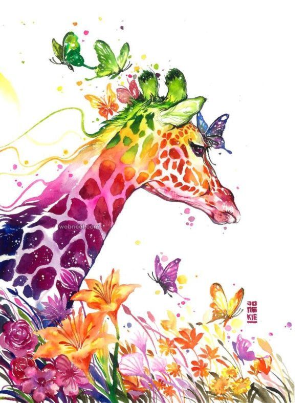 Rainbow Colored Giraffe Painting With Butterflies 80 Easy Watercolor Ideas For Beginners