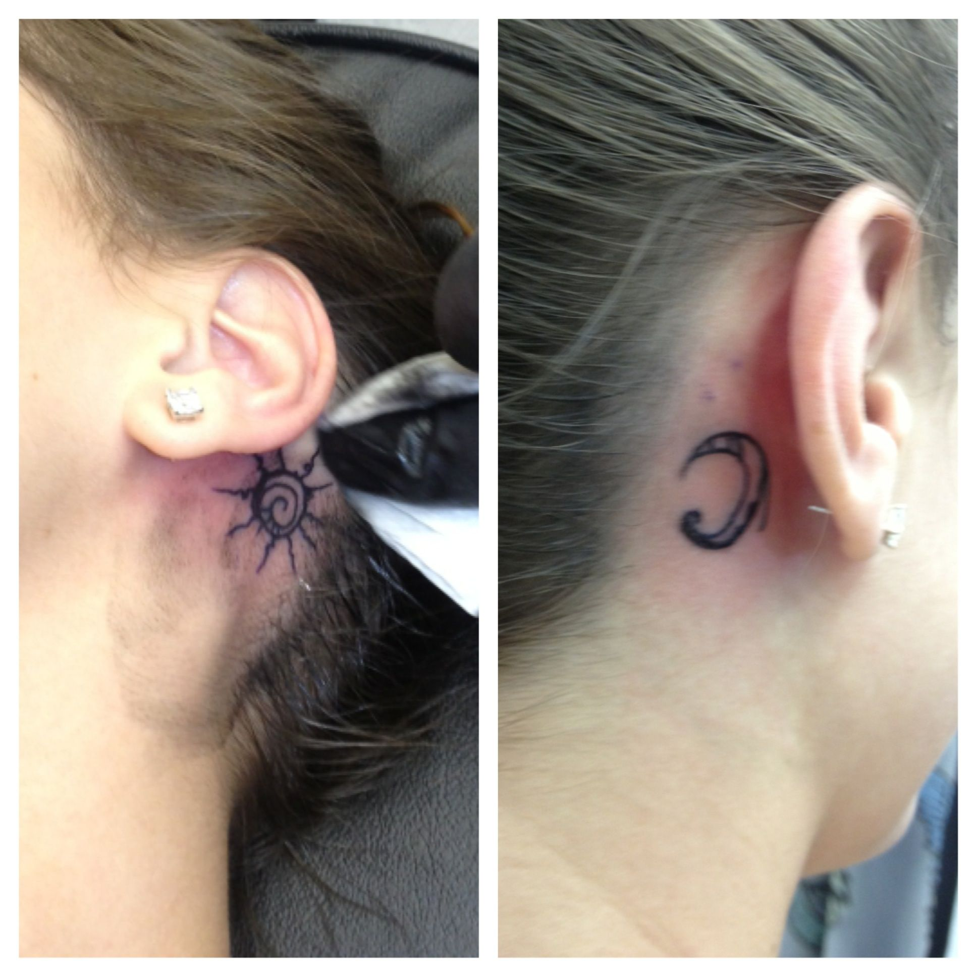 I Love Getting Asked If These Are Real Behind The Ears Sun And Moon Tattoo With Images Moon Tattoo Tattoos Sun Tattoos