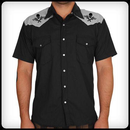 Skull Pistol Western Shirt Rockabilly Style Men Mens Vintage Shirts Rockabilly Outfits