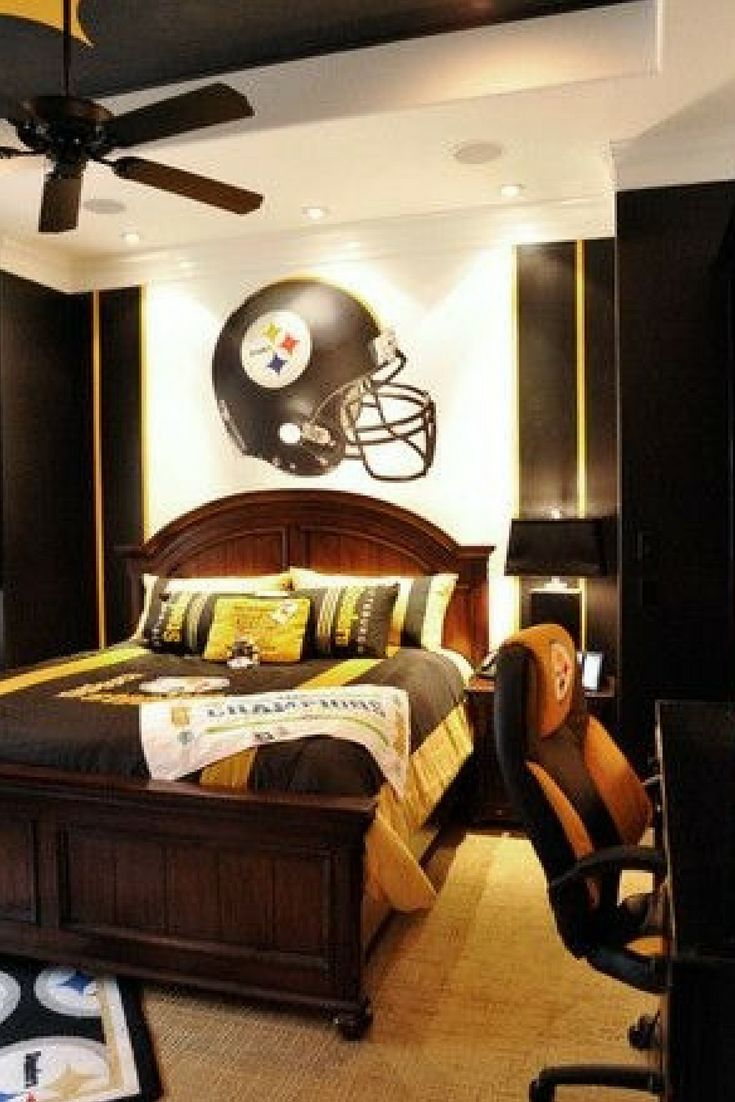 Breathtaking American Football Themed Kids Room Design Amazing American Football Helmet Wallpaper Makes This Kids Teenage Boy Room Bedroom Design Room Design