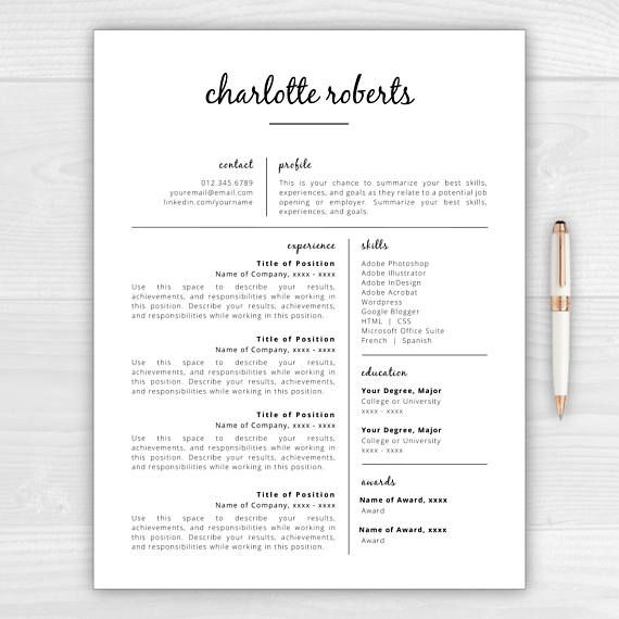 Creative Resume Template for Microsoft Word \ Mac Pages Charlotte - mac pages resume templates