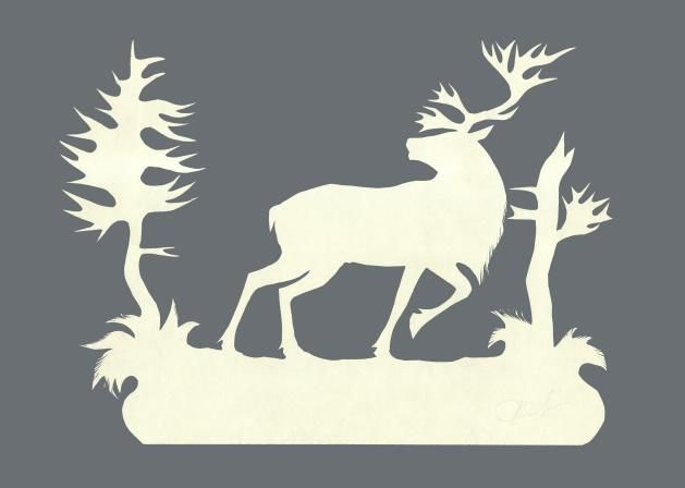трафарет бегущего оленя для декора окон