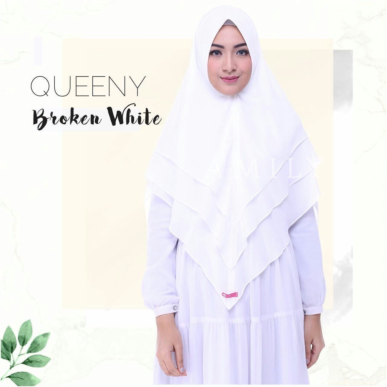 Amily Khimar Queeny Broken White Hijab Kerudung Khimar Jilbab Syari Untukmu Yg Cantik Syari Dan Trendy Muslim Fashion Hijab Hijab Fashion Muslim Fashion