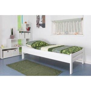 einzelbett easy mobel k1 1n buche vollholz massiv weiss lackiert masse 90 x 200 cm kinderbetten pinterest