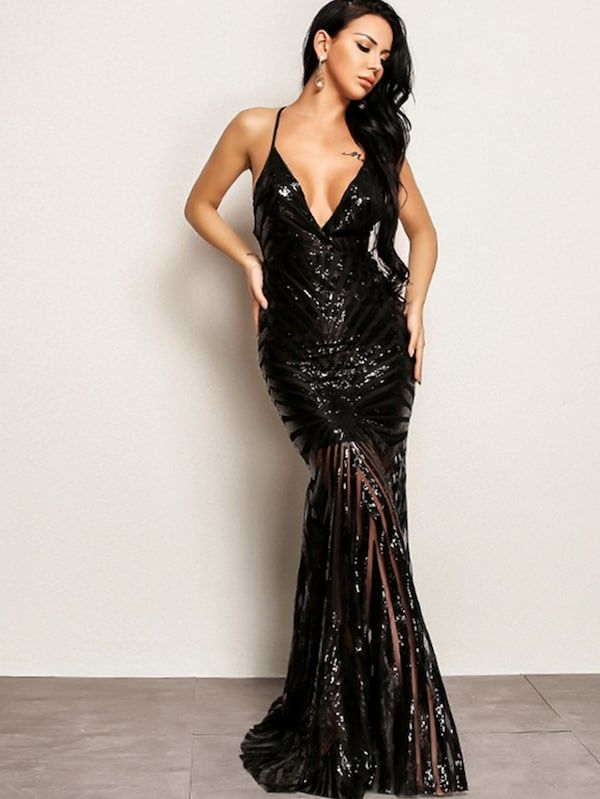 4051dcdf5e Joyfunear Crisscross Open Back Fishtail Plunging Sequin Dress | SHEIN