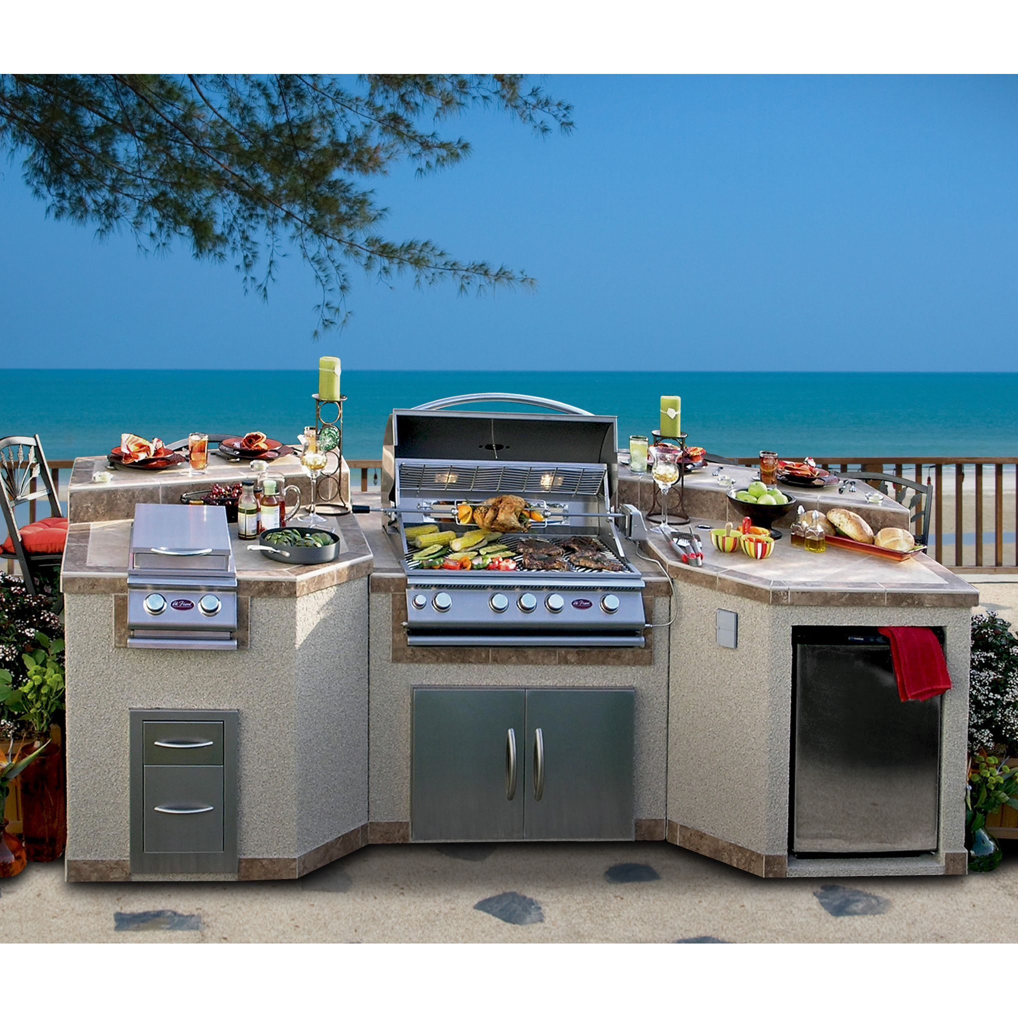 Cal Flame 3-piece Island with 4-burner BBQ Grill and Rotisserie ...