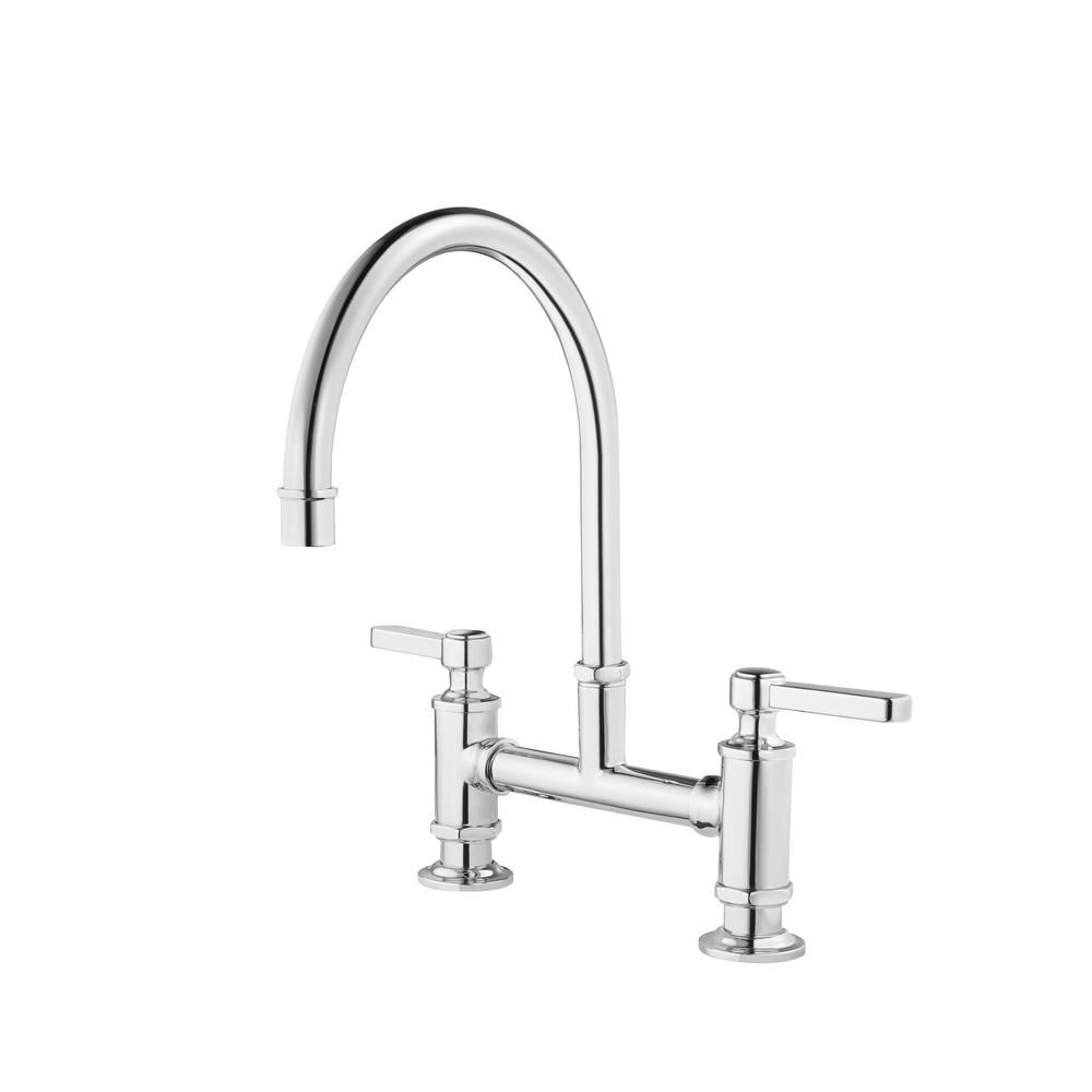 Pfister Port Haven 2 Handle Bridge Kitchen Faucet In Polished