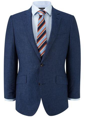 Contemporary Fit Blue Linen Jacket