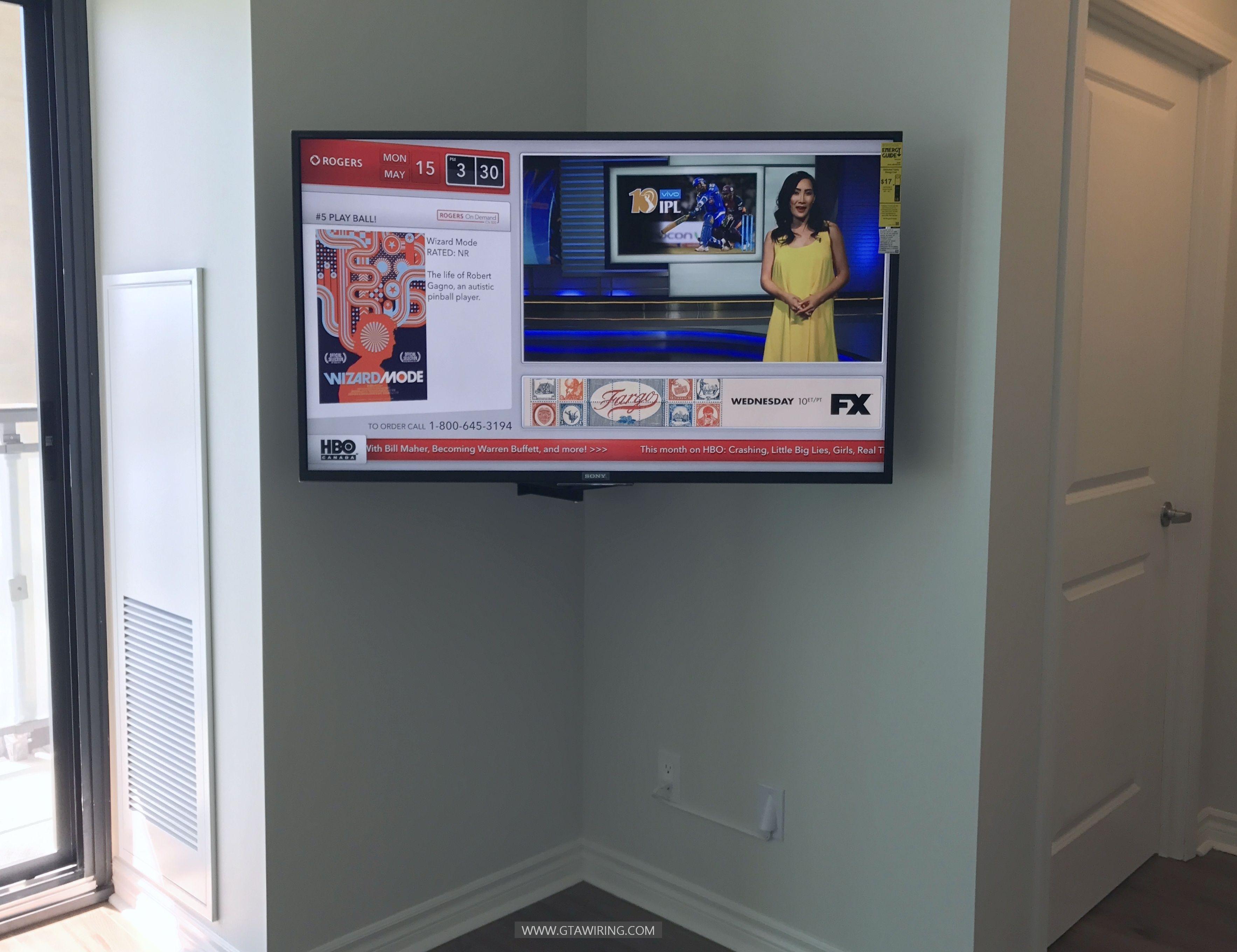 Corner TV wall mounting, media shelf installation, professional in ...