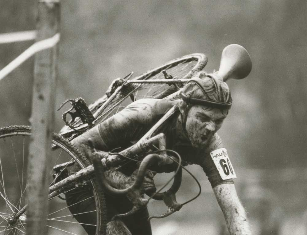 Old school cyclocross...a man and his bike...