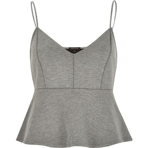 River Island Grey jersey short cami top (£11) ❤ liked on Polyvore featuring tops, shirts, crop tops, tank tops, grey, sale, women, v neck tank top, camisoles & tank tops and v neck crop top