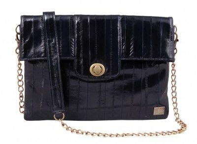 Eel Skin Leather Handbag. This fabulous hand made eelskin handbag has a large envelope-style opening with plenty of room for carrying those vital bits and pieces. $