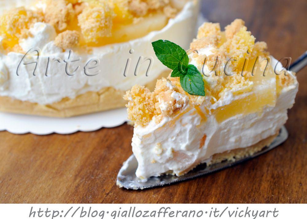 Cheesecake all\u0027ananas con mascarpone e panna, torta fredda, sbriciolata,  dolce fresco, ricetta facile e veloce, torta alla frutta, dolce da merenda,  torta