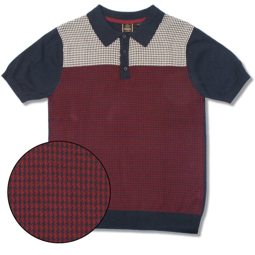 3887009c8ffe Merc London Mod Retro 60 s Dogtooth Knit S S Polo Shirt Thumbnail 3