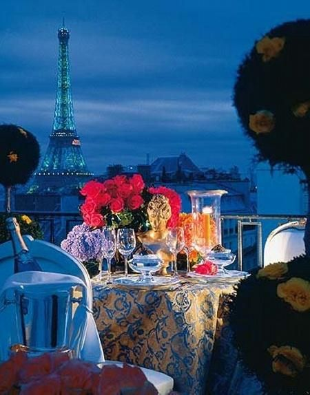 Ultimate setting to die for:  Intimate table for two overlooking Paris