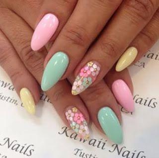 Top 10 Most Repinned Easter Nail Designs Flower Nails Pastel Nail Art Nail Designs