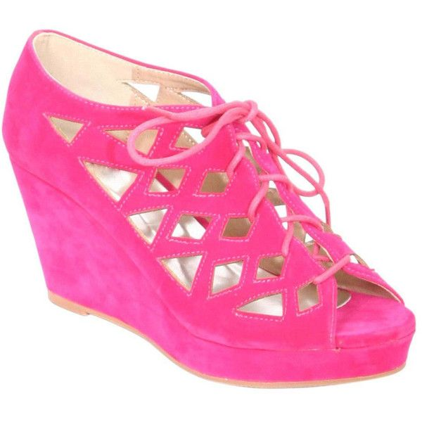 Pilot Lattice Lace Up Shoe Wedges ($16) ❤ liked on Polyvore featuring shoes, pink, summer footwear, wedge heel shoes, pink shoes, pink wedge shoes and wedge sole shoes