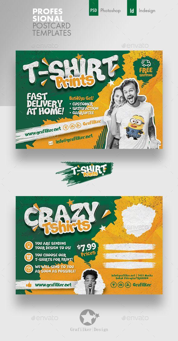 T-Shirt Print Postcard Templates   Diseño   Postcard ...