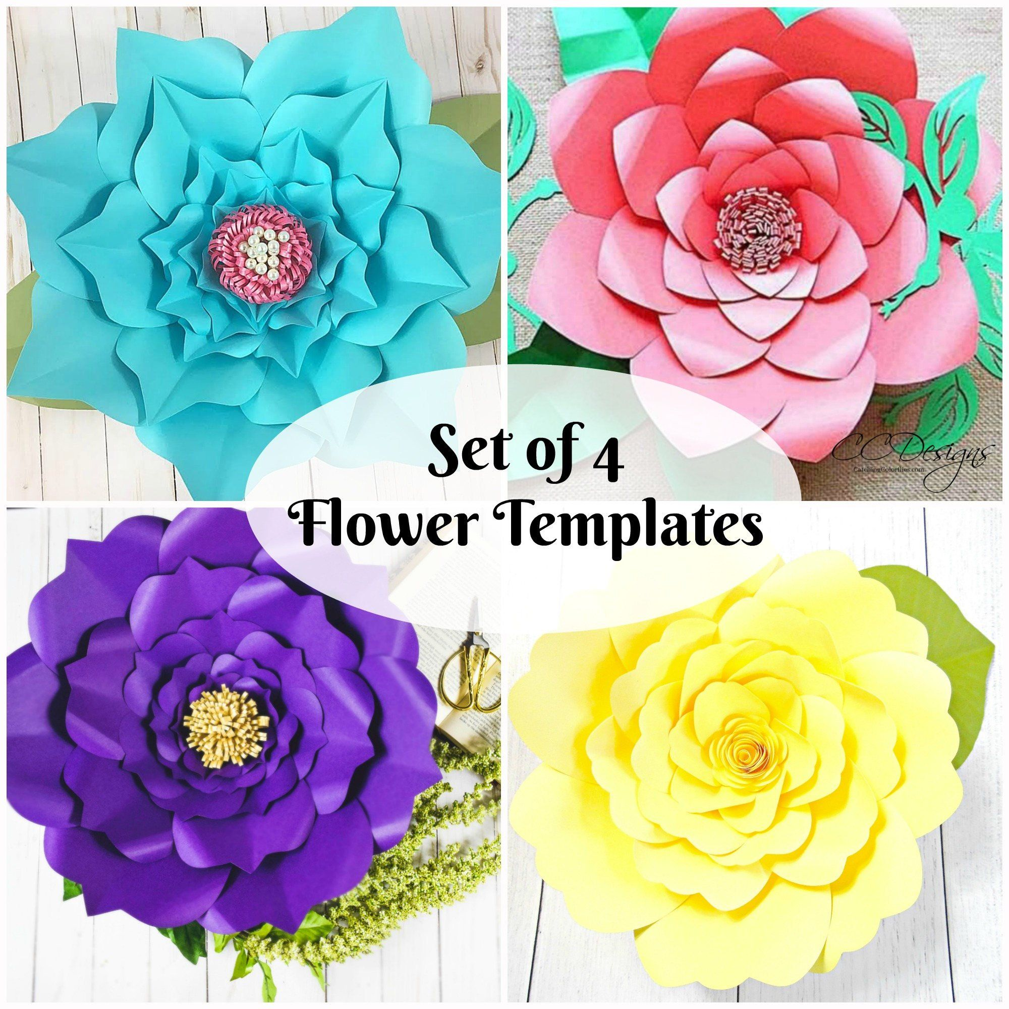 Diy Giant Paper Flowers Template Instant Download Paper Flower