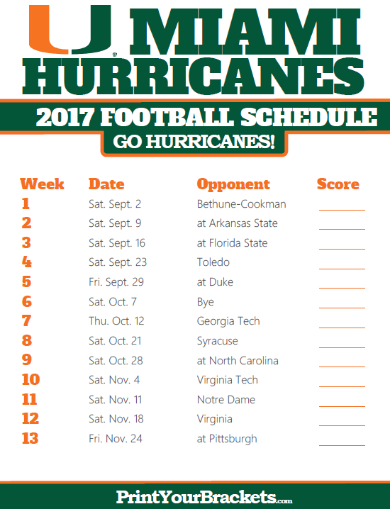 picture regarding Fsu Football Schedule Printable called 2017 Miami Hurricanes Soccer Program Printable College or university