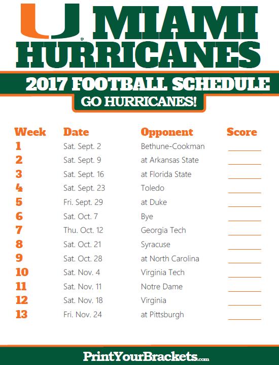 photo regarding Fsu Football Schedule Printable called 2017 Miami Hurricanes Soccer Routine Printable Faculty
