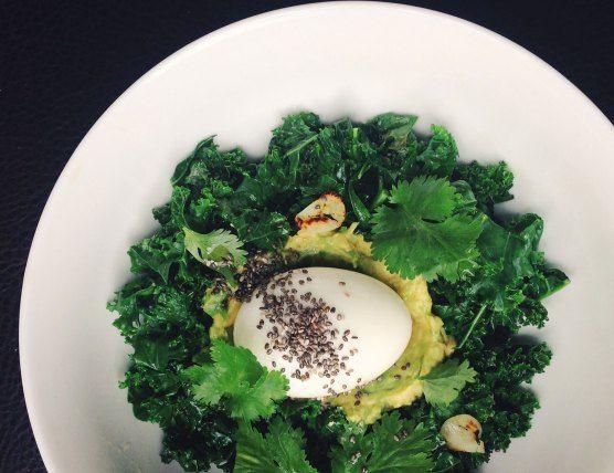 Six-minute egg with garlic kale and smashed avocado | Eatori | Via The Lazy Paleo