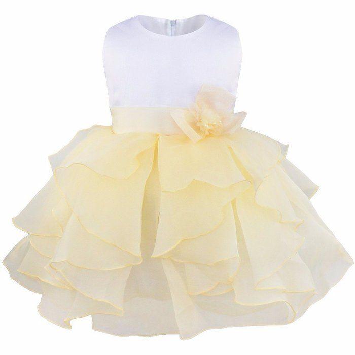 iEFiEL Babybekleidung Baby-Mädchen Prinzessin Kleid Festzug Taufkleid Hochzeit Partykleid Beige 62-68 (Herstellergröße:60)